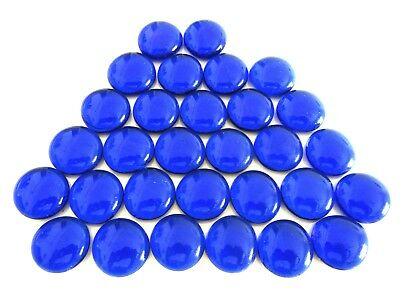 30 x Venetian Blue Art Glass Mosaic Artist Craft Pebble Glass Gem Stones