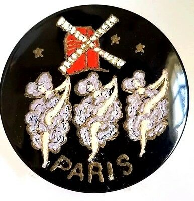 "Vintage French Can-Can Dancers ""MOULIN ROUGE"" Paris Powder Compact. HO LALA!"