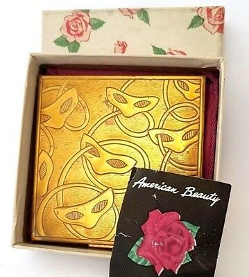 Vintage ELGIN American Beauty Masquerade Mask Engraved Powder Compact in Box!