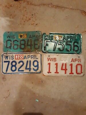 License Plate Lot Of 4 1980's Wisc. Motorcycle Plates