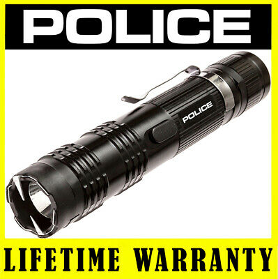 POLICE METAL M12 78 BV Rechargeable Stun Gun LED Flashlight + Taser Case Black