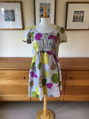 Hobbs Linen Floral Dress with Cotton Lining and Side Pockets 8