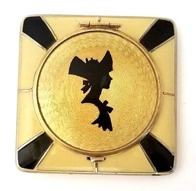 Vintage Art Deco Yellow & Black Guilloche Enamel Silhouette Vanity Compact. SEE!