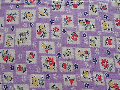 Vintage Floral Feedsack Purple with Red & Yellow Flowers