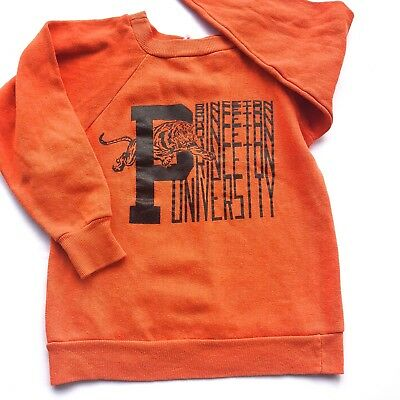 VTG 70s Orange Princeton University Tiger American Sportswear Sweatshirt 4 5 6 Y