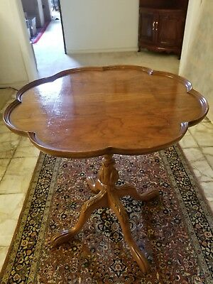Antique Circular Pie-Crust / Side / End / Table Made in Early 1900's, Solid Wood