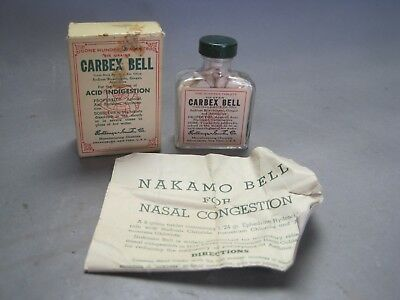 Vintage Carbex Bell Acid Indigestion Pills in Bottle w Original Box & Papers VGC