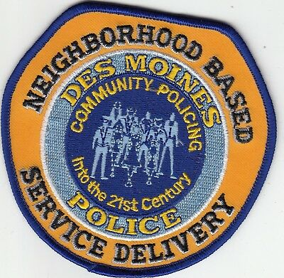 Des Moines Police Neighborhood Based Service Delivery Shoulder Patch Iowa Ia