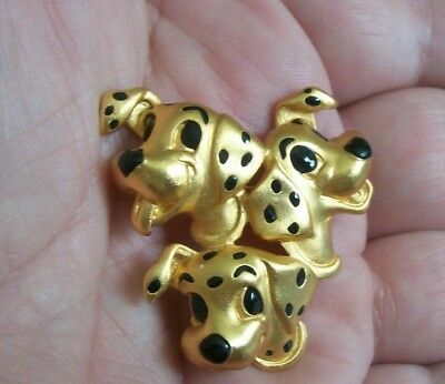 101 DALMATIONS  Disney Collector's Pin Brooch : gold & black  3 puppy pin