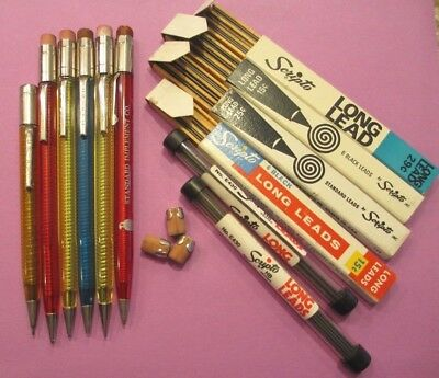 Vintage translucent Scripto Mechanical Pencils and leads and erasers