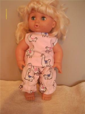 "Doll Clothes Baby Doll 10"" 11"" 12"" 2 Pc  Pajama Pink Llama Print New"