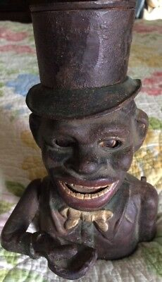 """Vintage Cast Iron Black Americana Man Mechanical Jolly """"n"""" With Top Hat Bank"""
