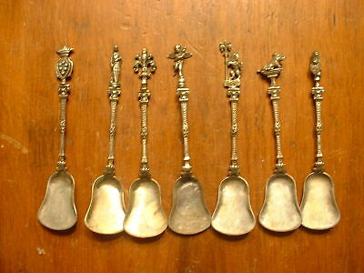7 Antique .800 Silver Italian Demitasse Sugar Shovel Spoons