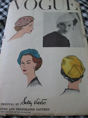 1950's VINTAGE SEWING PATTERN Vogue SALLY VICTOR CLOSE FITTING DRAPED HAT Sz 22""