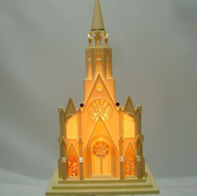 """VTG Christmas Raylite Electric Church Lights Up Musical Silent Night 1950s 12"""""""
