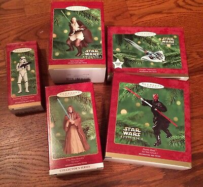 Star Wars Hallmark Keepsake Ornaments Lot Of 5 with original box and packing