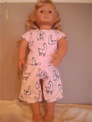 "Doll Clothes American Girl 18""  Short Pajamas Pink Llama Print New"