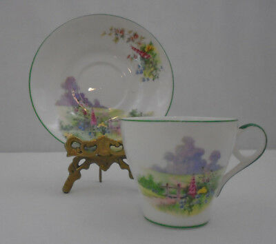 Bell China Art Deco Meadowside Fine  Bone China Tea Cup and Saucer