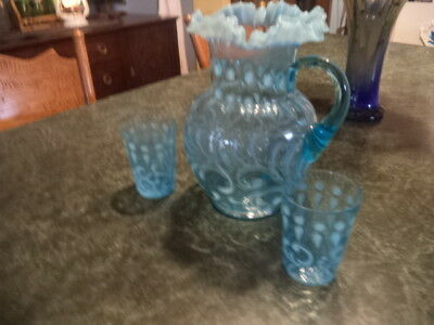 victorian antique jefferson pitcher and glass button and braids