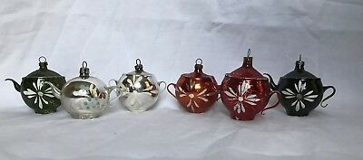 Six Vintage Small Hand Painted Mercury Glass Teapot Christmas Ornaments