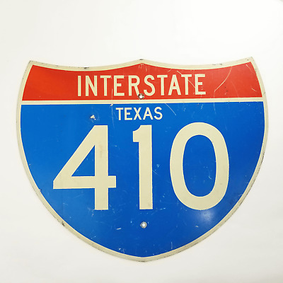 Vintage Authentic Texas Interstate 410 Sign - Heavy-Duty Reflective Metal Sign