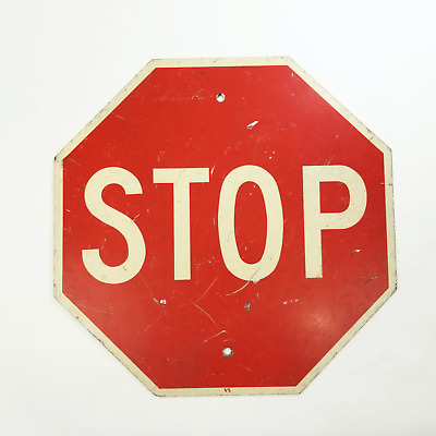 """Vintage Authentic 24"""" Stop Sign - Heavy-Duty Reflective Metal Sign"""