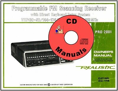 Realistic PRO-2001 OWNER'S MANUAL 20-115 Radio Scanner Book CD
