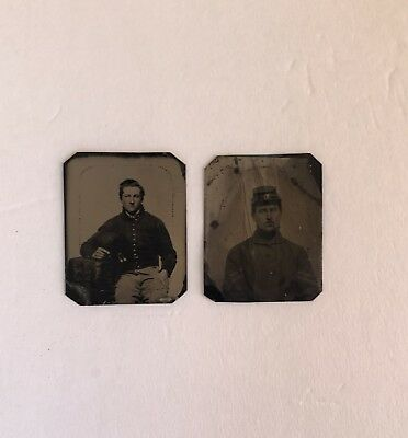 Two Civil War Tintype Photographs Of Union Soldiers