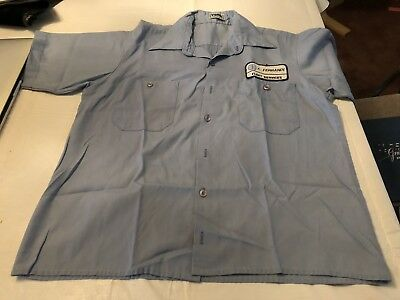 Vintage Blue Pan American/Pan Am Airlines Fleet Services Work Shirt Todd USA