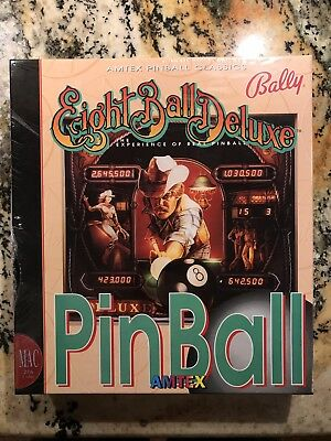 New Sealed! 80s Bally Eight Ball Deluxe Pinball Game MAC Apple Computer VINTAGE