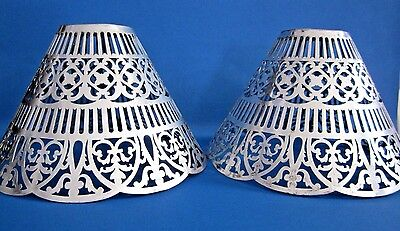 Antique Vintage Gorham Pierced Silverplated Candle Followers Shades, Shades Only