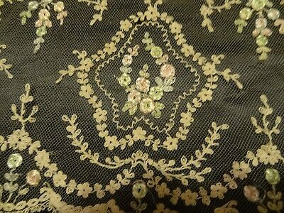 Lovely Antique French Tambour Net Lacy Trim Rosettes