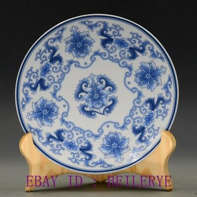 Chinese Blue And White Porcelain Hand-painting Flower Plate W Qing Qianlong Mark