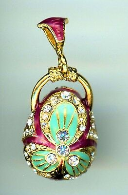 Russian Faberge Egg Pendant Violet/Green with gems radiating into blossum, more.