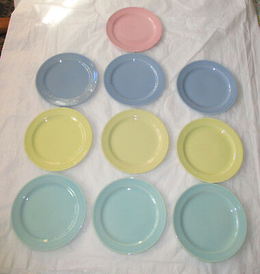Taylor Smith TST LuRay Pastels 10 Bread & Butter Plates Yellow, Pink, Green Blue