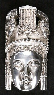 Vintage Antique Chinese Sterling Silver Empress Woman Chased Repousse Plaque Old