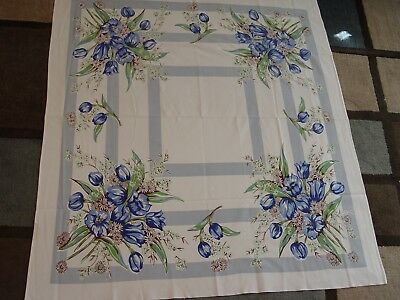 """Vintage 44"""" x 49"""" Blue Tulips White Daisies Flowers Floral Tablecloth Linen"""