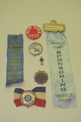 Vintage American Legion Buttons And Ribbons.  (Louisville Tanks Ribbon).