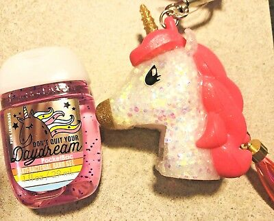 Bath and Body Works BFF Unicorn Pink clip on pocketbac holder NWOT and sanitizer