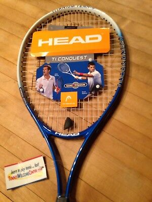 HEAD Ti.Conquest Tennis Racquet (Strung) 4 1/4 -2 Nano Titanium New With Tags 👌
