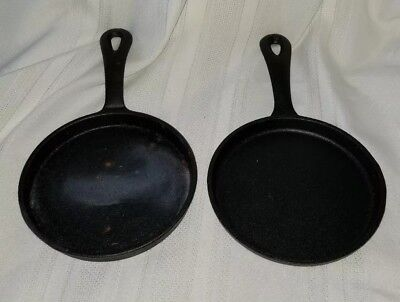 2 Vintage Matching 5 inch Cast Iron Skillets Frying Pans Small
