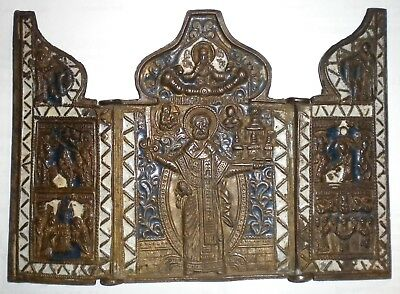 Antique Russian Bronze Triptych Icon Type Nicolas Of Mozajsk ( 19.century )