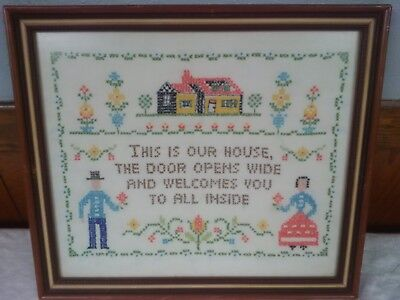 """Vintage Framed Counted Cross Stitch Sampler This Is Our House 15.5"""" X 13.5"""""""