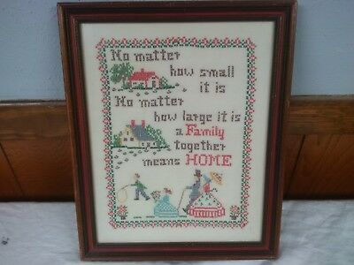 """Vintage Framed Counted Cross Stitch Sampler No Matter How Small 12"""" X 15"""""""