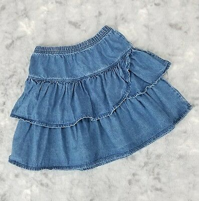 Hanna Andersson Girls Size 140 US 10 Tiered Denim Skirt Elastic Waist Jeans