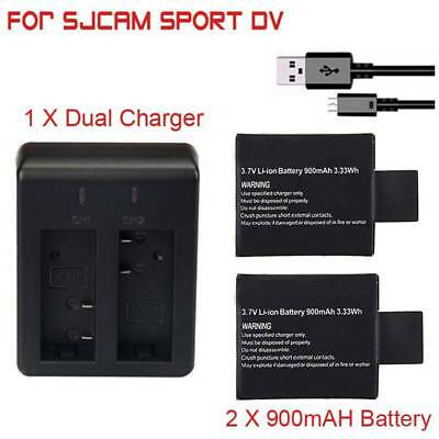 3.7V 900mAh Li-ion Battery + Dual Charger For SJ4000 SJ5000 Action Sport Camera