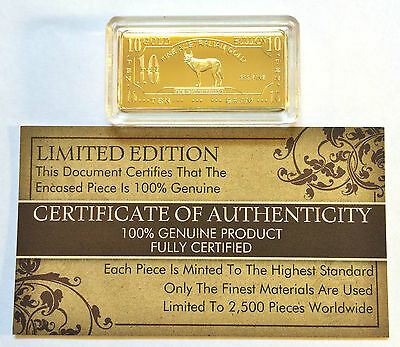 "NEW 10 Gram ""Australian Dingo"" Certified Ingot Finished in 999 Fine 24 k Gold a"