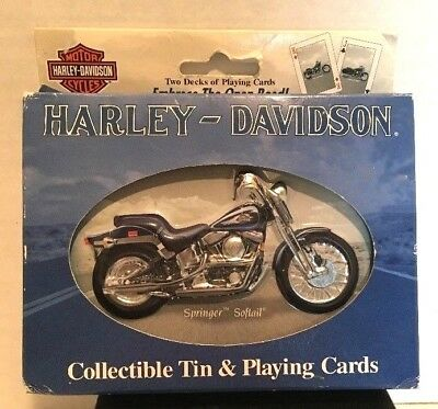 Harley Davidson Collectible Tin & Playing Cards Springer Softail