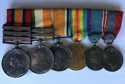 WW1 Set of 6 British Medals Kings Queens South Africa, GRI, The Great War Named