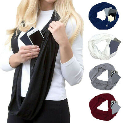Unisex Solid Color Soft Warm Circular Scarf With Zipper Storage Pocket Nice